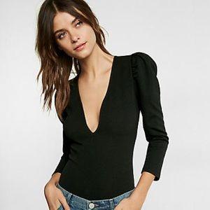 🆕 Express Plunging V-Neck Puffed Sleeve Bodysuit